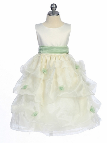 Sage Flower Girl Dress - Matte Satin Bodice Gathered Organza
