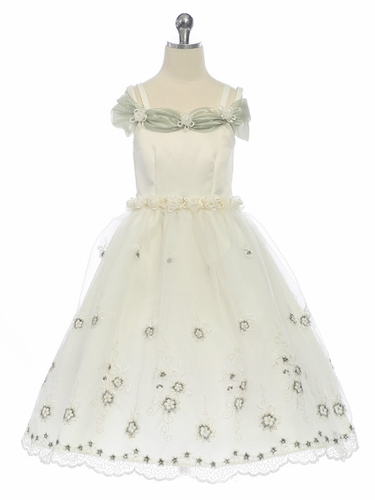 Sage Flower Girl Dress - Matte Satin Bodice Organza Skirt