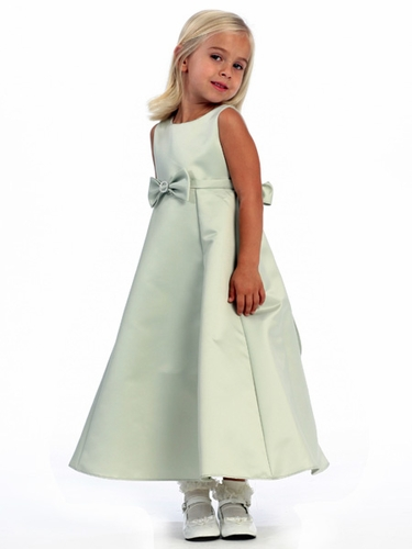Sage Flower Girl Dress - Satin A-Line