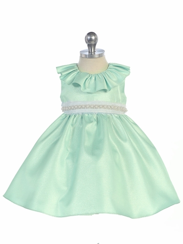 Sage Ruffle Neckline Fit & Flare Baby Dress