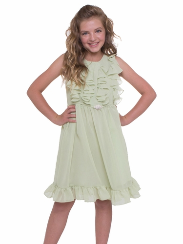 Sage Ruffled Chiffon Dress w/ Brooch