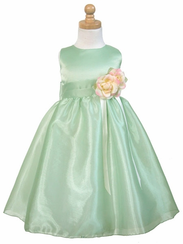 Sage Satin Party Dress