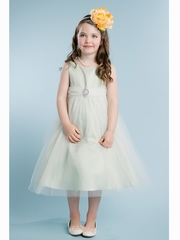 Sage Satin & Tulle Dress w/ Rhinestone Brooch