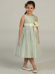 Sage Vintage Satin Tulle Dress