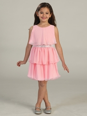 CLEARANCE - Salmon Tiered Chiffon Dress w/ Sequins Belt