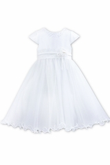 Sarah Louise 0070099 White Cap Sleeve Satin & Tulle