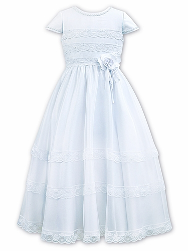 Sarah Louise 090010 White Cap Sleeve Communion Dress w/ Lace Detail