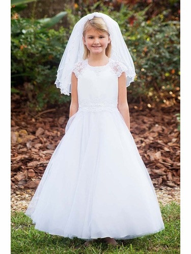 Sarah Louise 090048 White Tulle Communion Dress w/ Lace Waist & Cap Sleeve