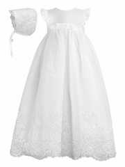 Sarah Louise Christening White Embroidered Robe & Bonnet