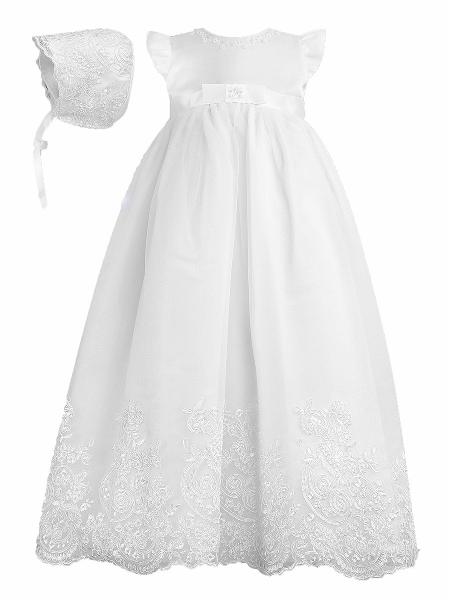 d11232a4e ... Clothing > Sarah Louise Christening White Embroidered Robe & Bonnet.  Click to Enlarge ...