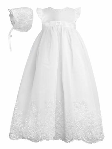 Sarah Louise Christening White Embroidered Robe   Bonnet f380923ac7