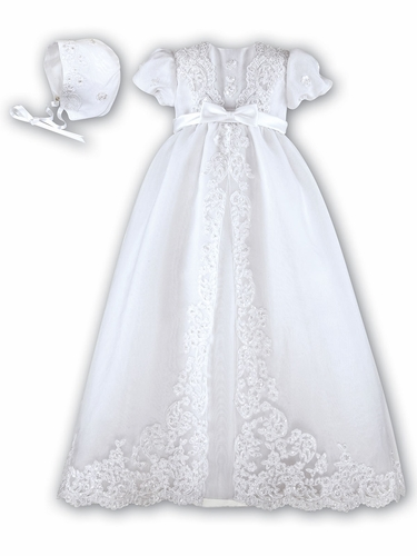 Sarah Louise Lace Christening Robe w/ Bonnet