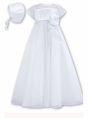 Sarah Louise OO103S White Netted Christening Gown w/ Bonnet