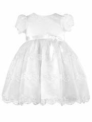 CLEARANCE - Sarah Louise White Dress w/ Lace & Sequin Detail
