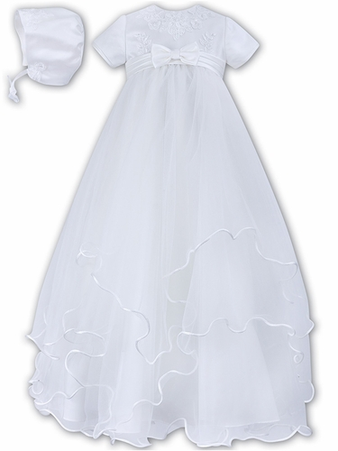 Sarah Louise White  Embroidered Bodice & Tiered Tulle w/ Bonnet