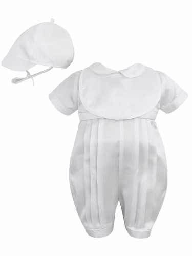 Sarah Louise White Pleated Romper w/ Bib & Cap
