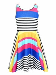 SaraSara Blue Multi Knit Striped Skater Dress