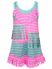 SaraSara Hot Pink Multicolor Blocking Fringe Dress w/ Hot Fix Studs