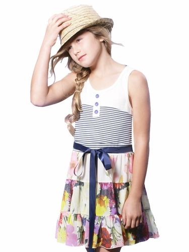 SaraSara Ivy Multicolor Tiered Tank Dress w/ Striped Bodice & Satin Sash
