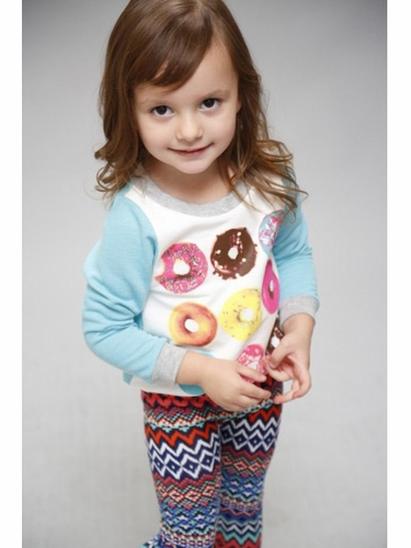 SaraSara Neon 2 PC Dozen Donut Top w/ ZigZag Leggings