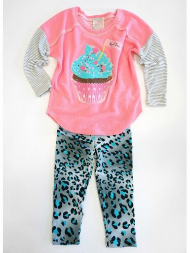 SaraSara Neon 2PC Cupcake Tunic w/ Animal Printed Leggings