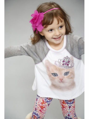 SaraSara Neon 2PC Princess Cat Top w/ Paisley Leggings