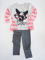 SaraSara Neon Woof Tunic w/ Striped Leggings