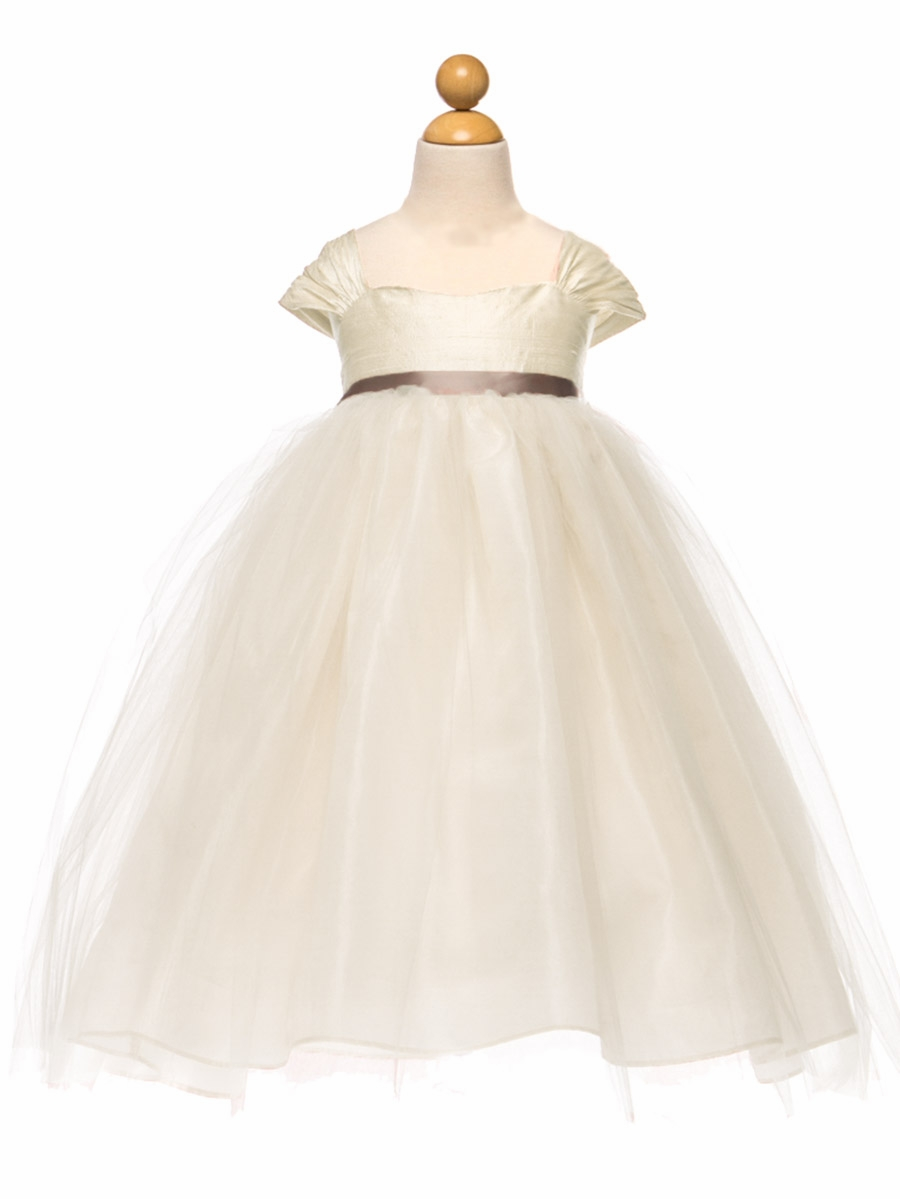 Ivory Silk Tulle Dress W Ribbon Sash