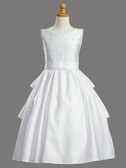 Satin Bodice w/ Pearl Accents & Skirt Cummerbund Communion Dress