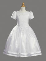 Satin Bodice w/ Tulle Skirt Communion Dress