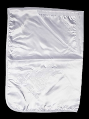 Satin Christening Blanket & Hanky w/ Embroidered Angel Design