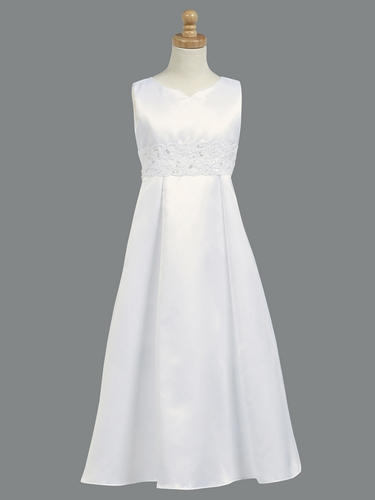Satin Communion A-line Dress w/ Corded & Beaded Laced Waistband