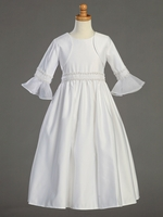 Satin Communion Dress w/ Long Sleeve Bolero & Pearled Lace Accents