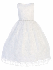 White Embroidered Tulle w/ Rhinestone Belt Communion Dress