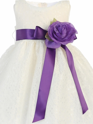 Satin Ribbon Sash w/ Flower