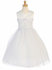 Satin & Tulle Dress w/ Embroidered Lace Applique