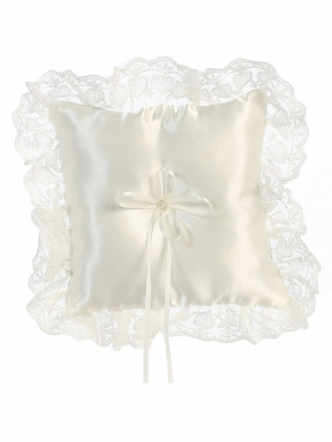 Satin W/ Lace Ivory Trim Ring Bearer Pillow
