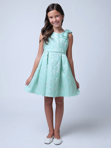 Seafoam Rose Jacquard Dress w/ Shoulder Bow