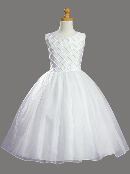 Shantung Organza W Pearl Accents First Communion Dress