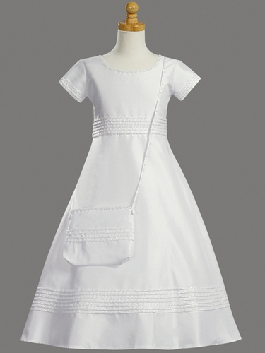 Shantung w/ Bead Accents & Purse Communion Dress
