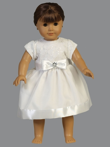 "Short Sleeve Embroidered Tulle w/ Sequins & Organza Skirt 18"" Doll Dress"