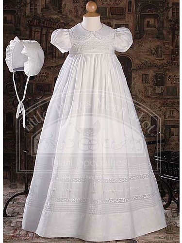 Short Sleeve Gown with Hand Embroidery and Pin Tuck