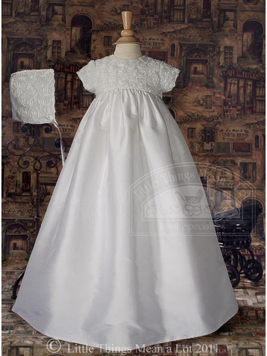 Silk Christening Gown with Rosette Bodice