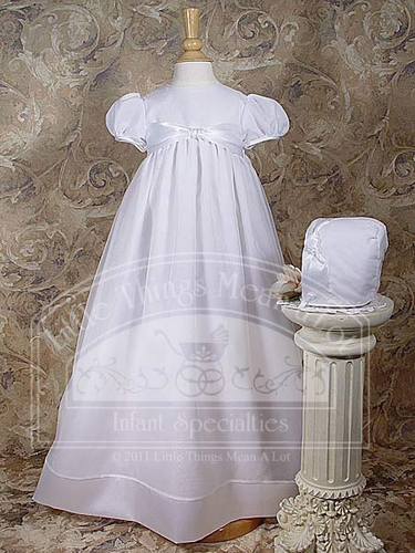 "Organza 31"" Christening Gown w/ Satin Ribbon"