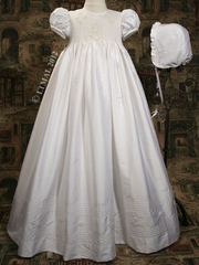 Silk Dupioni Christening Gown with Smocked Bodice
