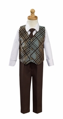 Silver Brown Flocked Taffeta Vest with Pants