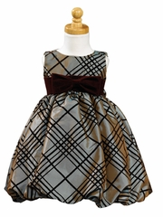 Silver Brown Sleeveless Flocked Taffeta Bubble Dress