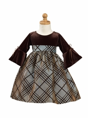 Silver Brown Stretch Velvet Bodice with Flocked Taffeta Skirt