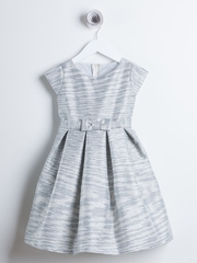 Silver & Champagne Striped Metallic Jacquard Dress