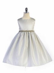 Crayon Kids 370 Silver/White Bejeweled Waist Trim Flared Skirt Dress